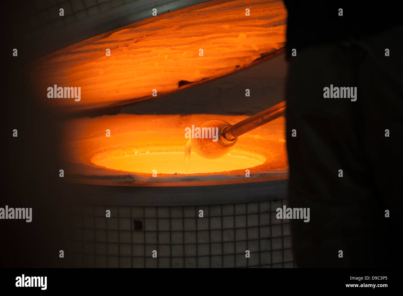 Molten Liquid Glass in Furnace Cupola Blowing - Stock Image