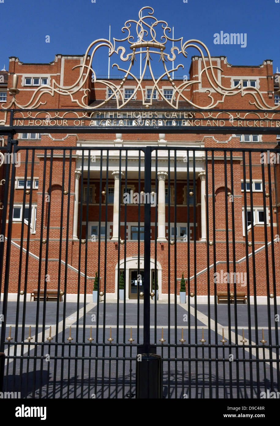 Rear of Pavilion stand and new Hobbs Gates at Oval cricket ground, London - Stock Image