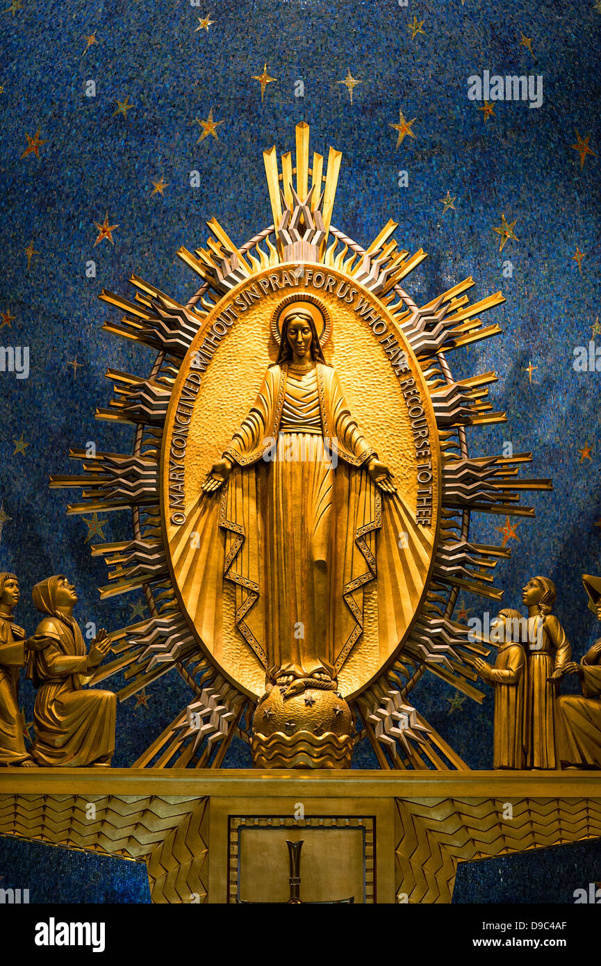 Miraculous Medal Chapel, Basilica of the National Shrine of the Immaculate Conception, Washington, DC, USA - Stock Image