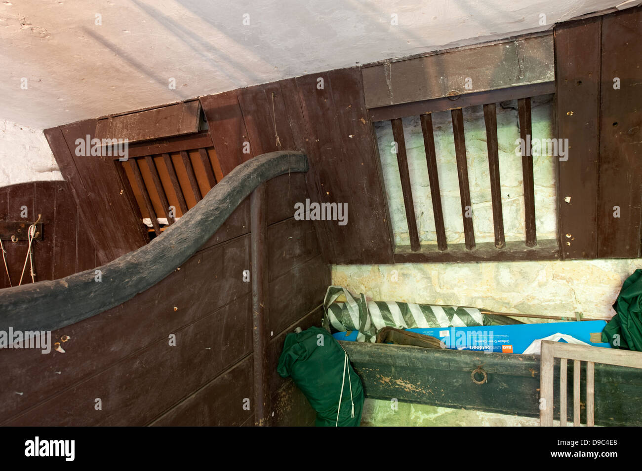 Horse Stables Old Hay Loft Trough Wooden - Stock Image