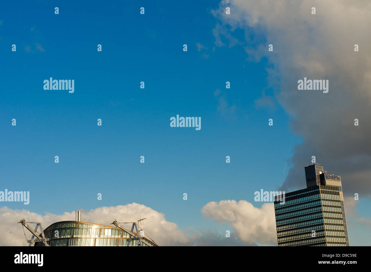 The new Co-Operative building in Angel Square, Manchester with the Old CIS tower in the backdrop - Stock Image