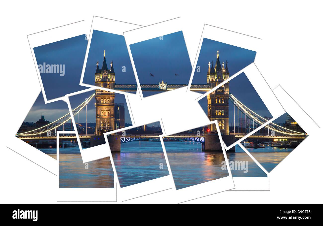 Tower bridge collage - Stock Image