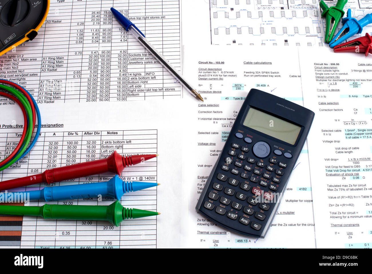 Electrical installation calculations testing project Stock Photo ...