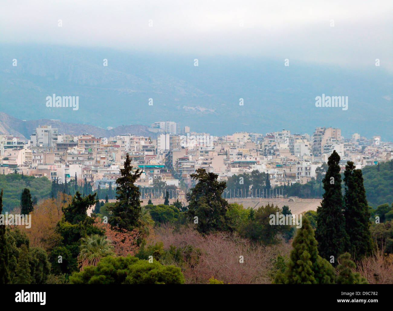 View to the Olympic stadium on an overcast stormy day, Athens, Greece - Stock Image