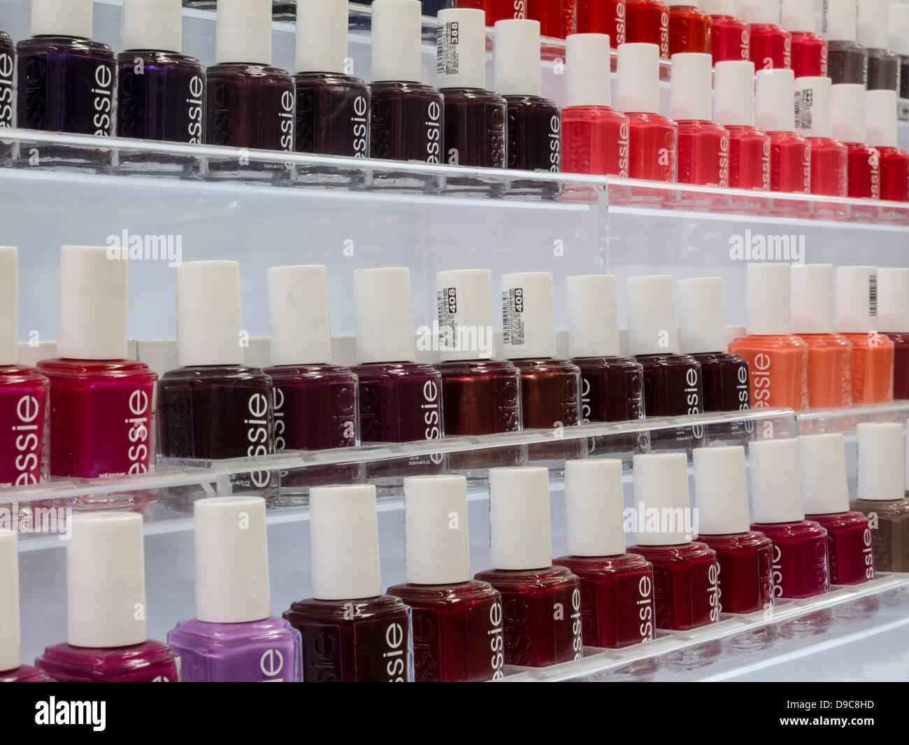 Rows of Essie Brand Nail Polish Bottles, Store Interior, NYC Stock ...