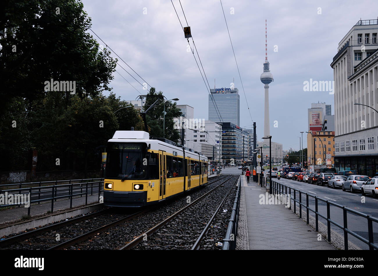 A tram station in Berlin. Germany - Stock Image