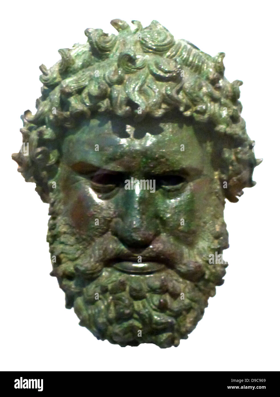 Bronze portrait head of a boxer, found at Olympia. The head of the man is crowned with kotinos, the olive-wreath - Stock Image