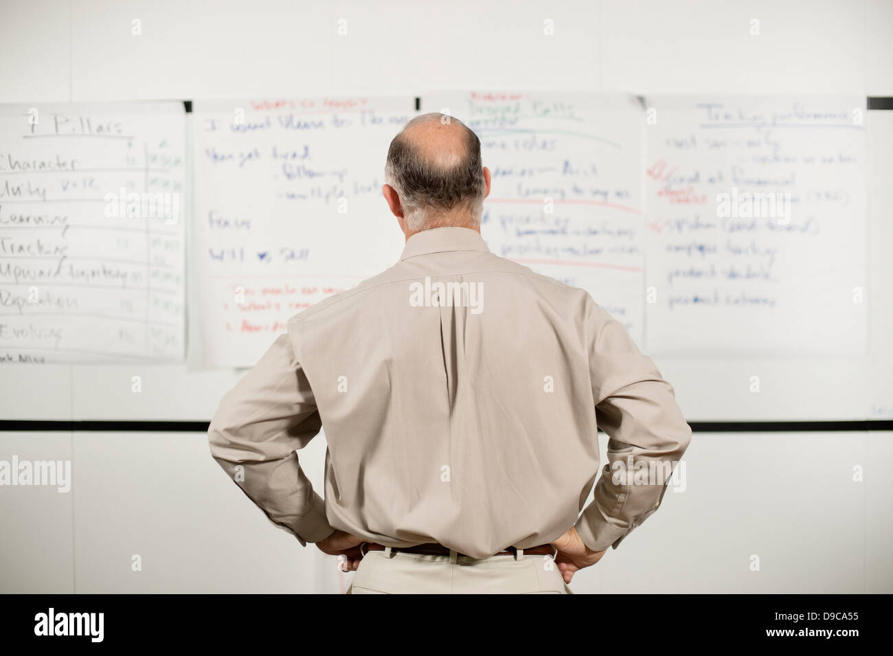Mature man confused by presentation - Stock Image