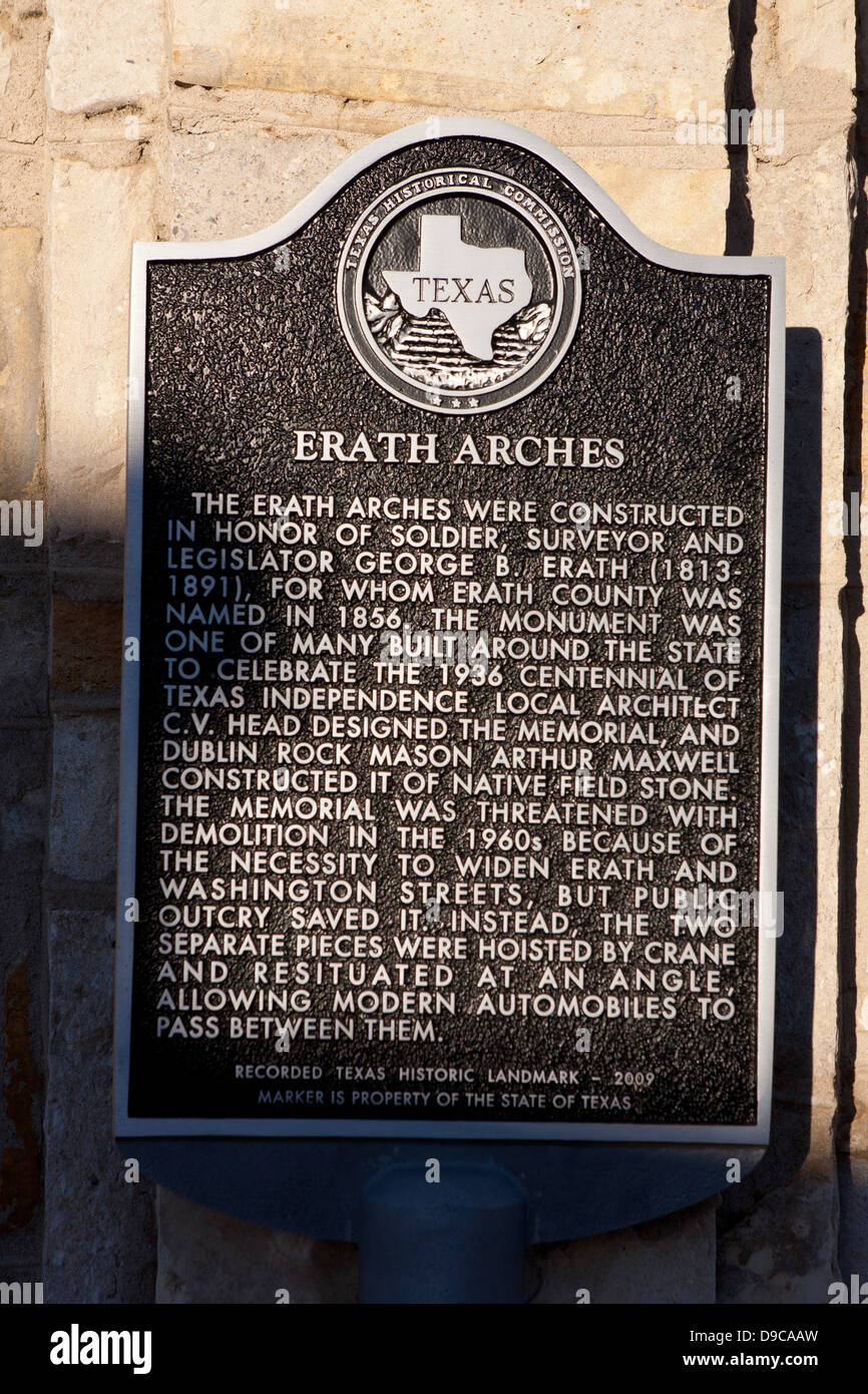 ERATH ARCHES  The Erath Arches were constructed in honor of soldier, surveyor and legislator George B. Erath (1813 - Stock Image