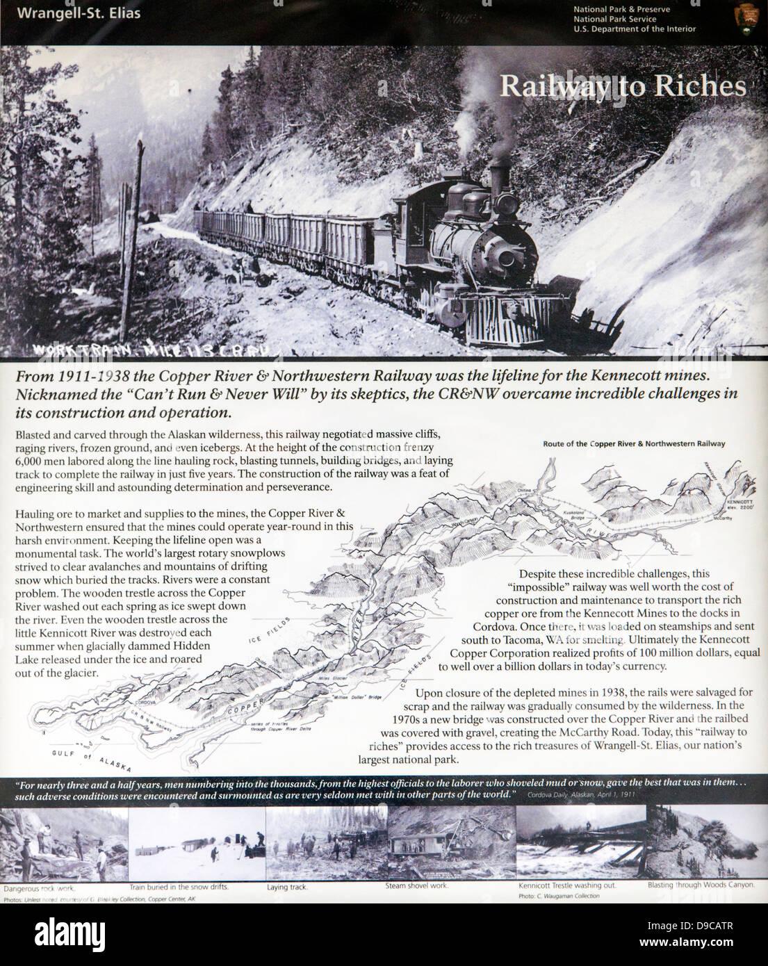 Signage at Kuskulana Bridge, c 1910, built by Copper River and Northwest Railroad to access the Kennecott mines, - Stock Image