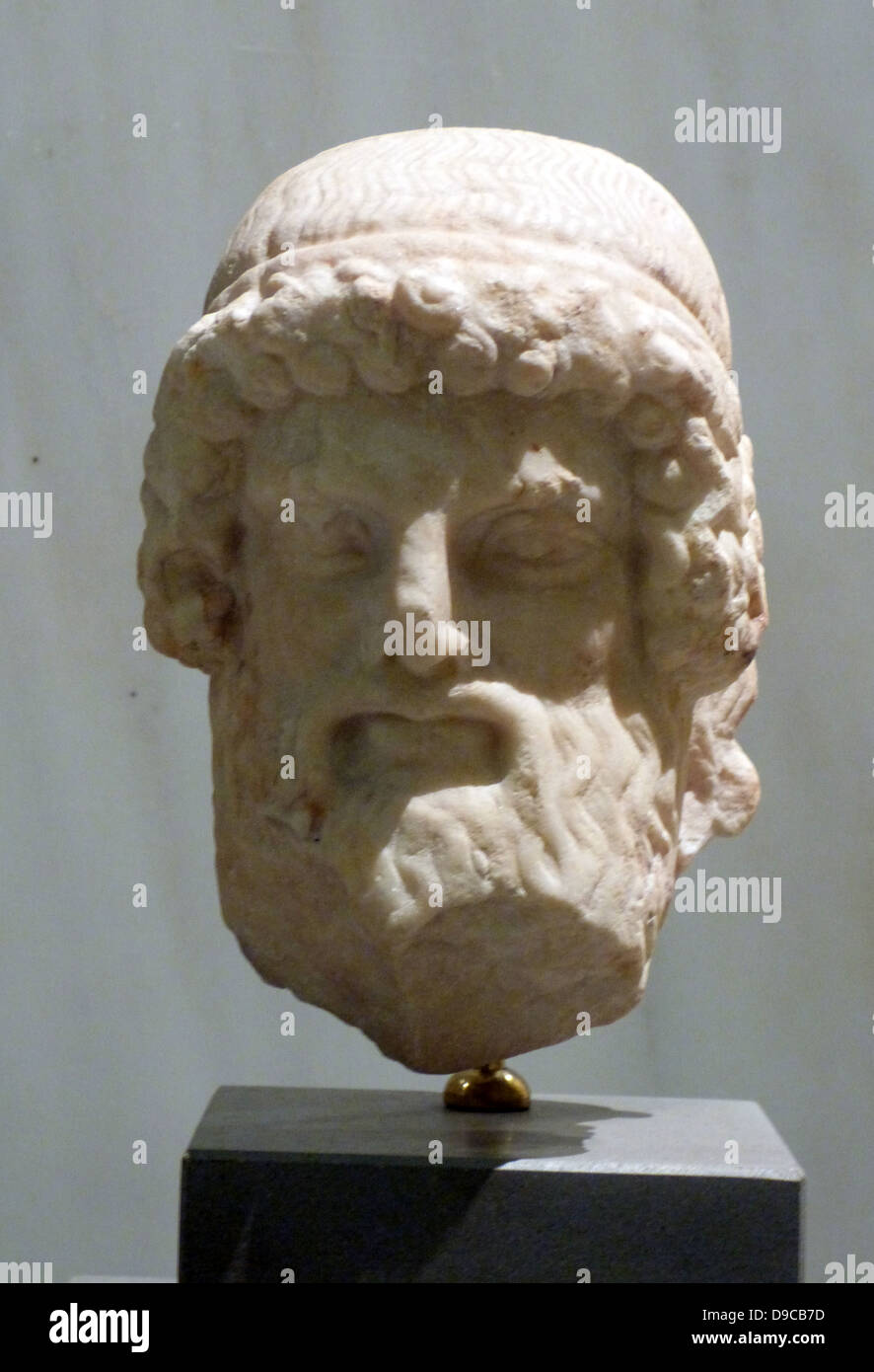 Marble head of Hermes from a herm.  Possibly from the Athenian Agora, 480-460 BC. - Stock Image