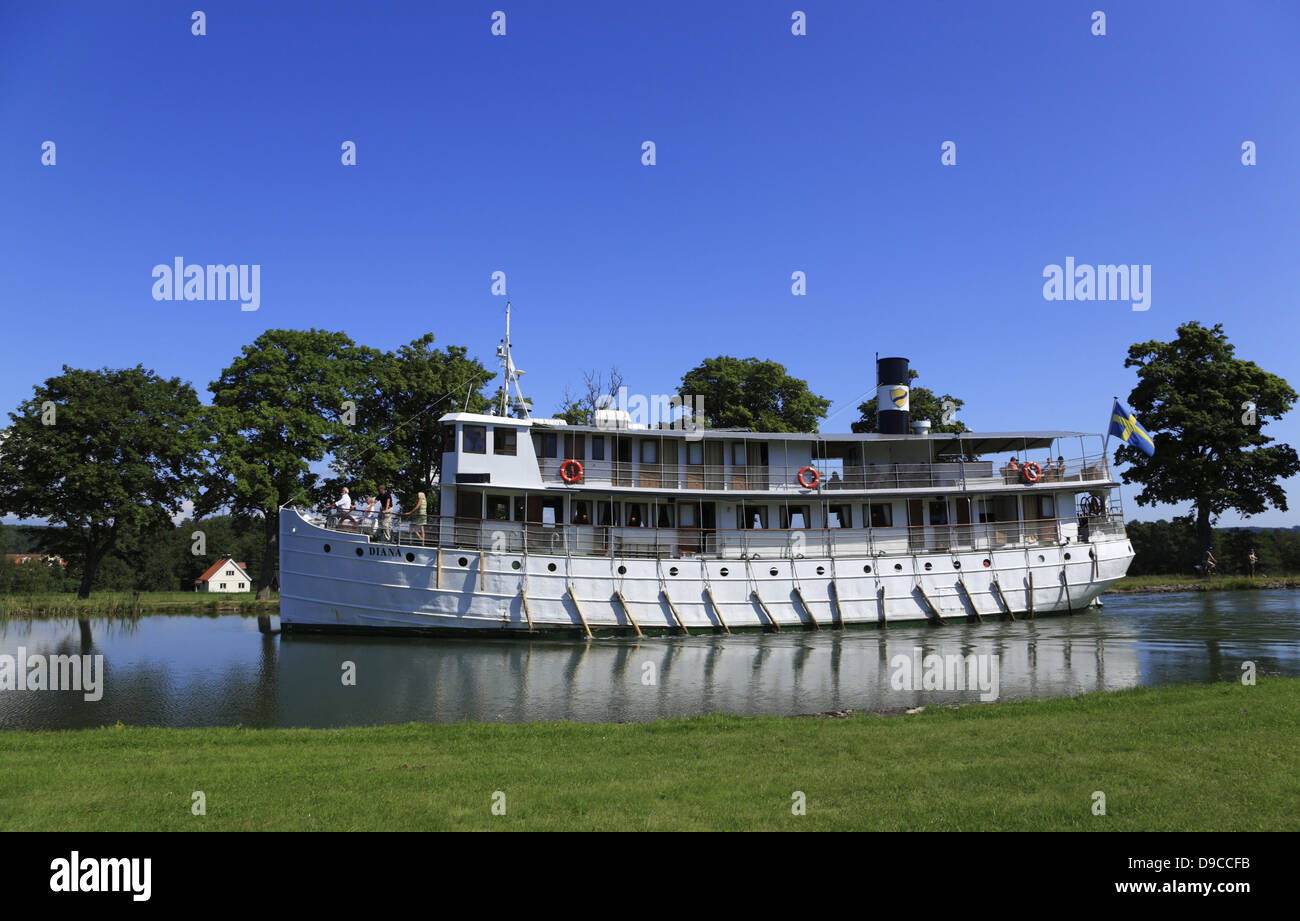 Old passenger steamship DIANA on the Gota Canal, Sweden, Scandinavia - Stock Image