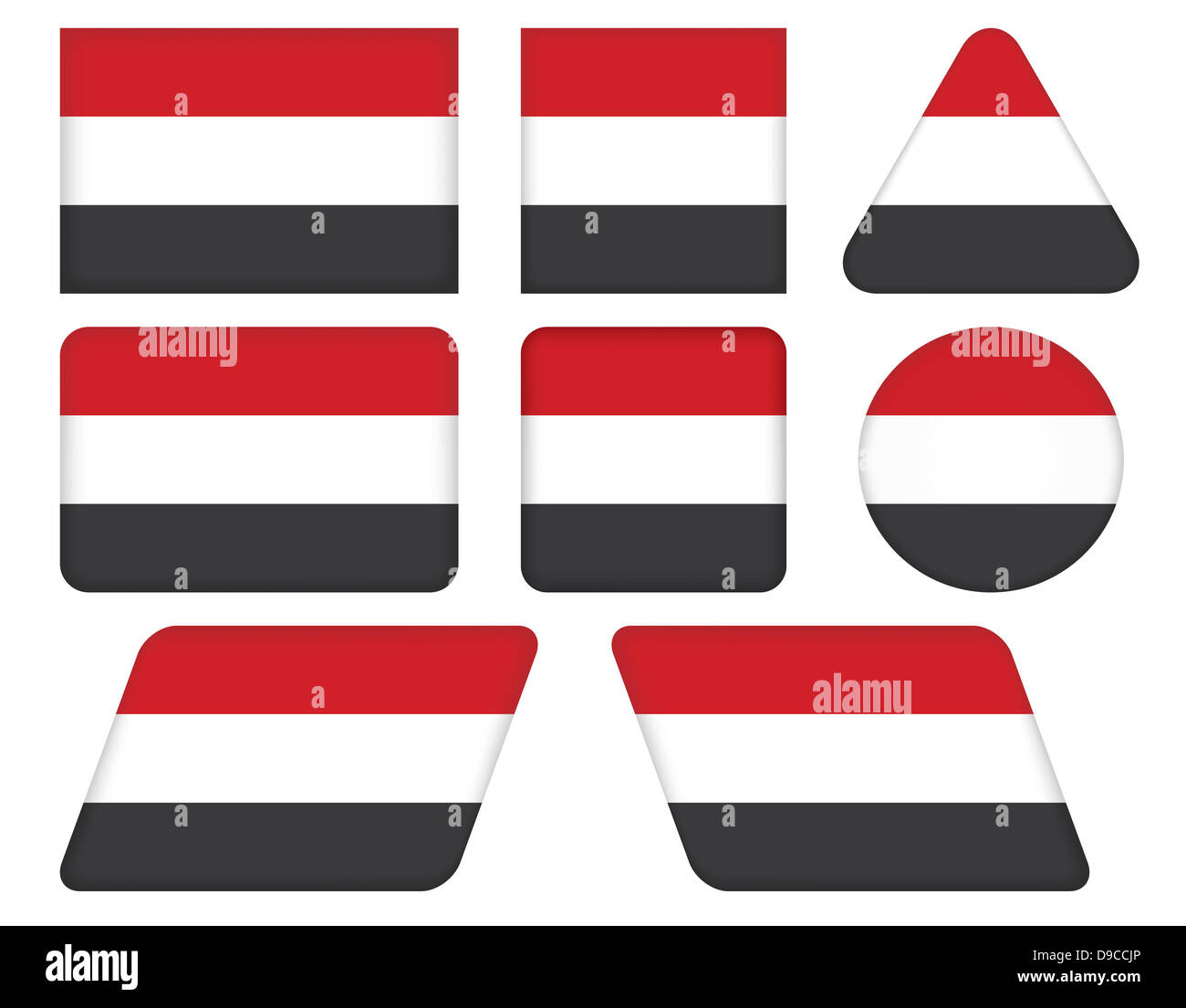 set of buttons with flag of Yemen - Stock Image