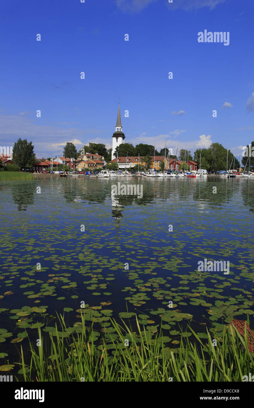 View from GRIPSHOLM Castle at lake Malaren to Mariefred, Sodermanland, Sweden, Scandinavia - Stock Image