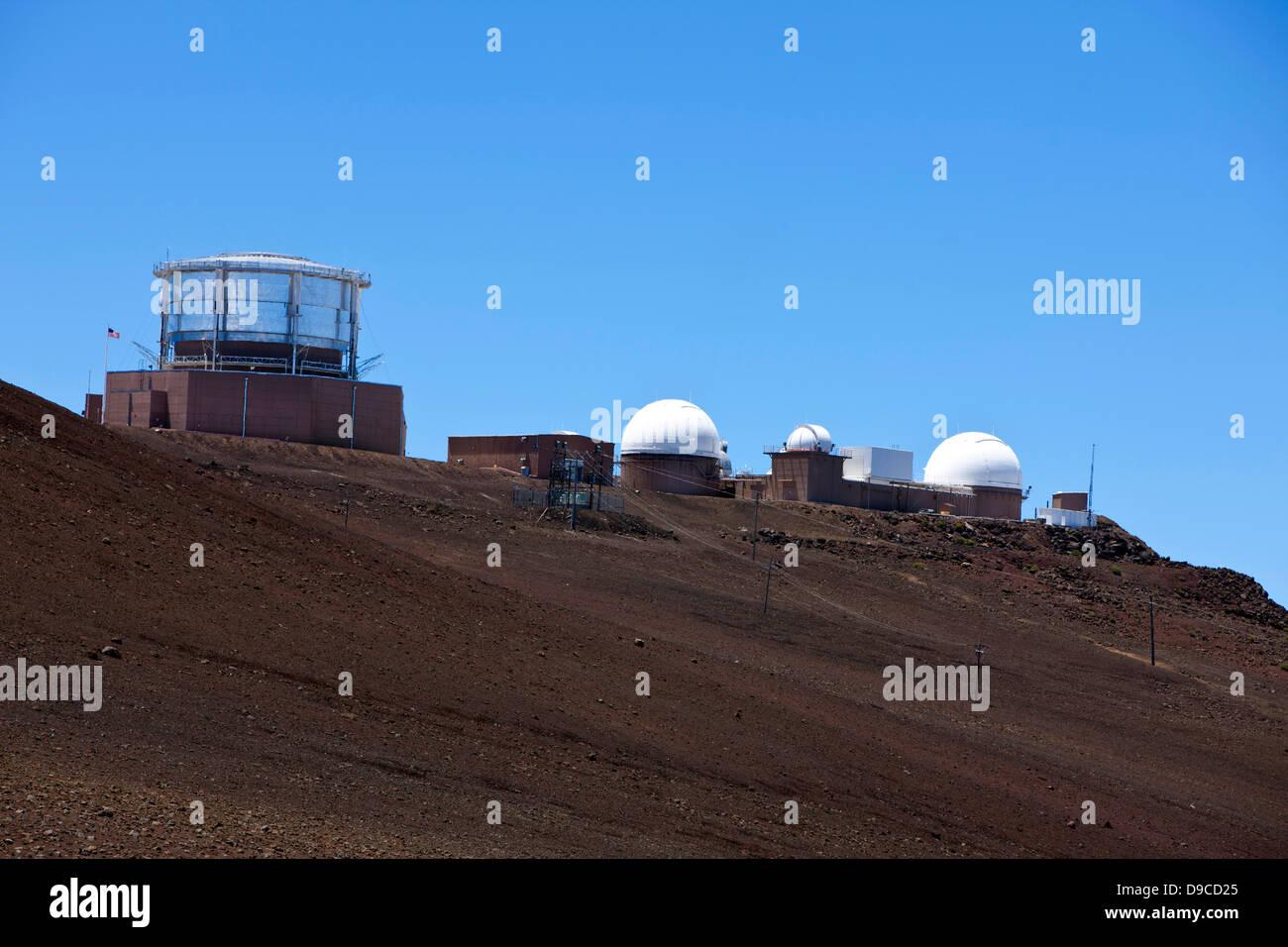 Haleakala Observatory / Haleakala High Altitude Observatory Site viewed from Haleakala National Park, Maui, Hawaii, - Stock Image