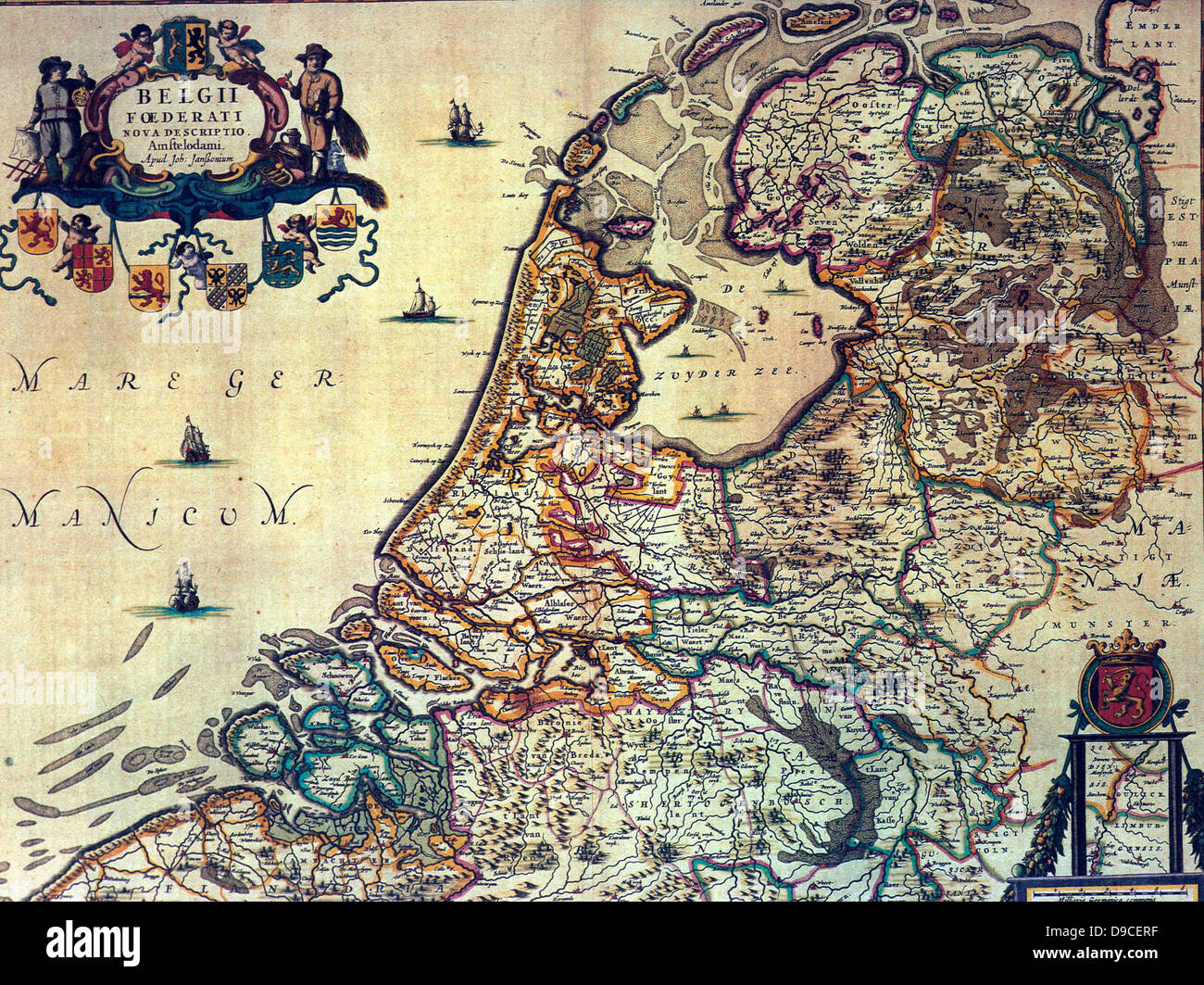 1658 map of the Dutch Republic. The Dutch Republic was known as the Republic of the Seven United Netherlands (Republiek - Stock Image