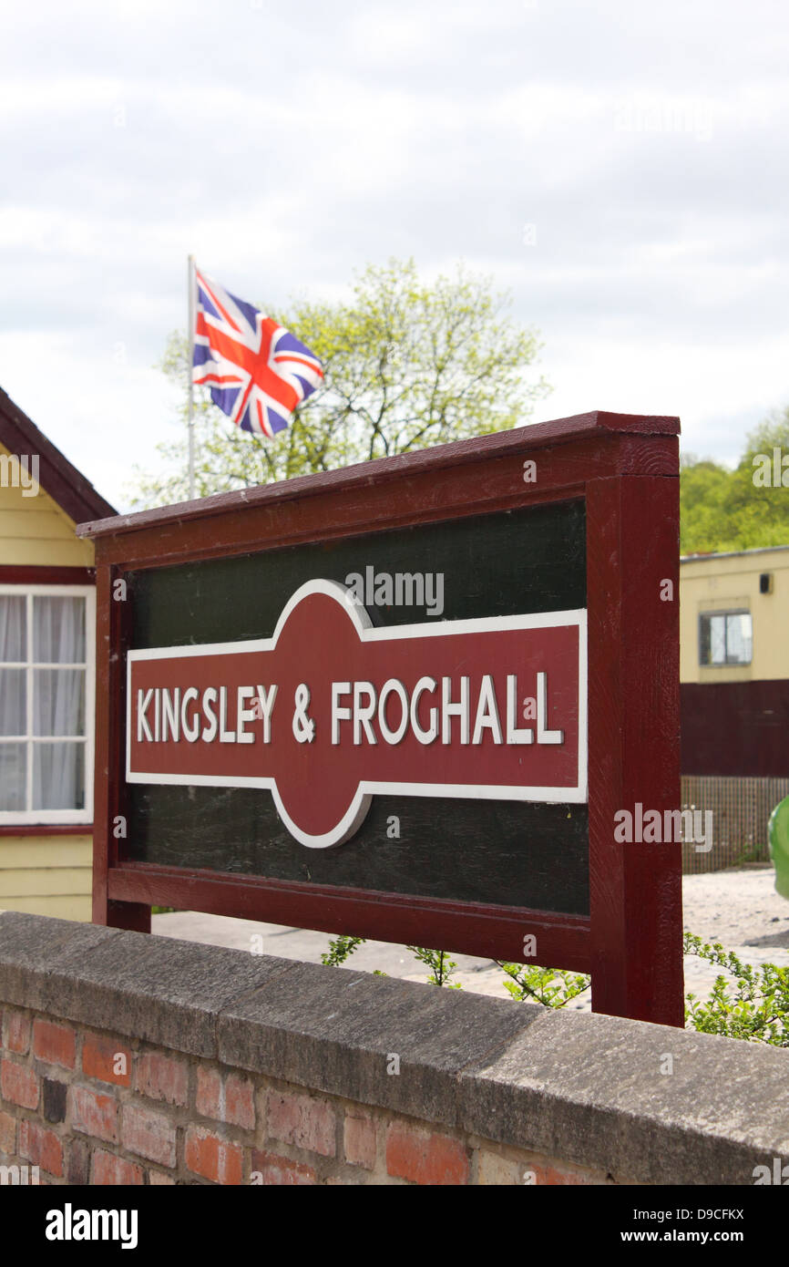Kingsley and Froghall railway station sign, Staffordshire, England. - Stock Image