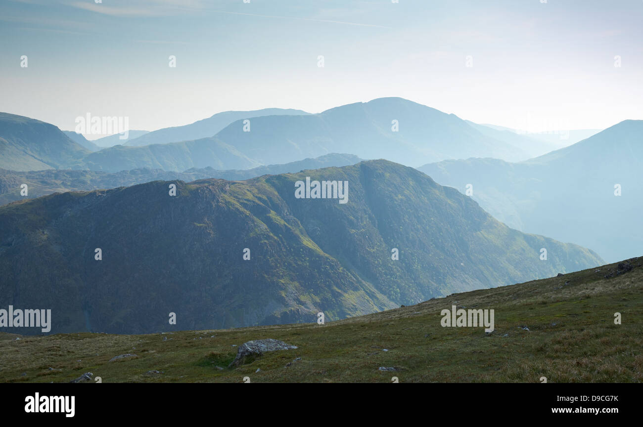 Looking over towards Fleetwith Pike from below the summit of Dale Head in Buttermere, Lake District. - Stock Image