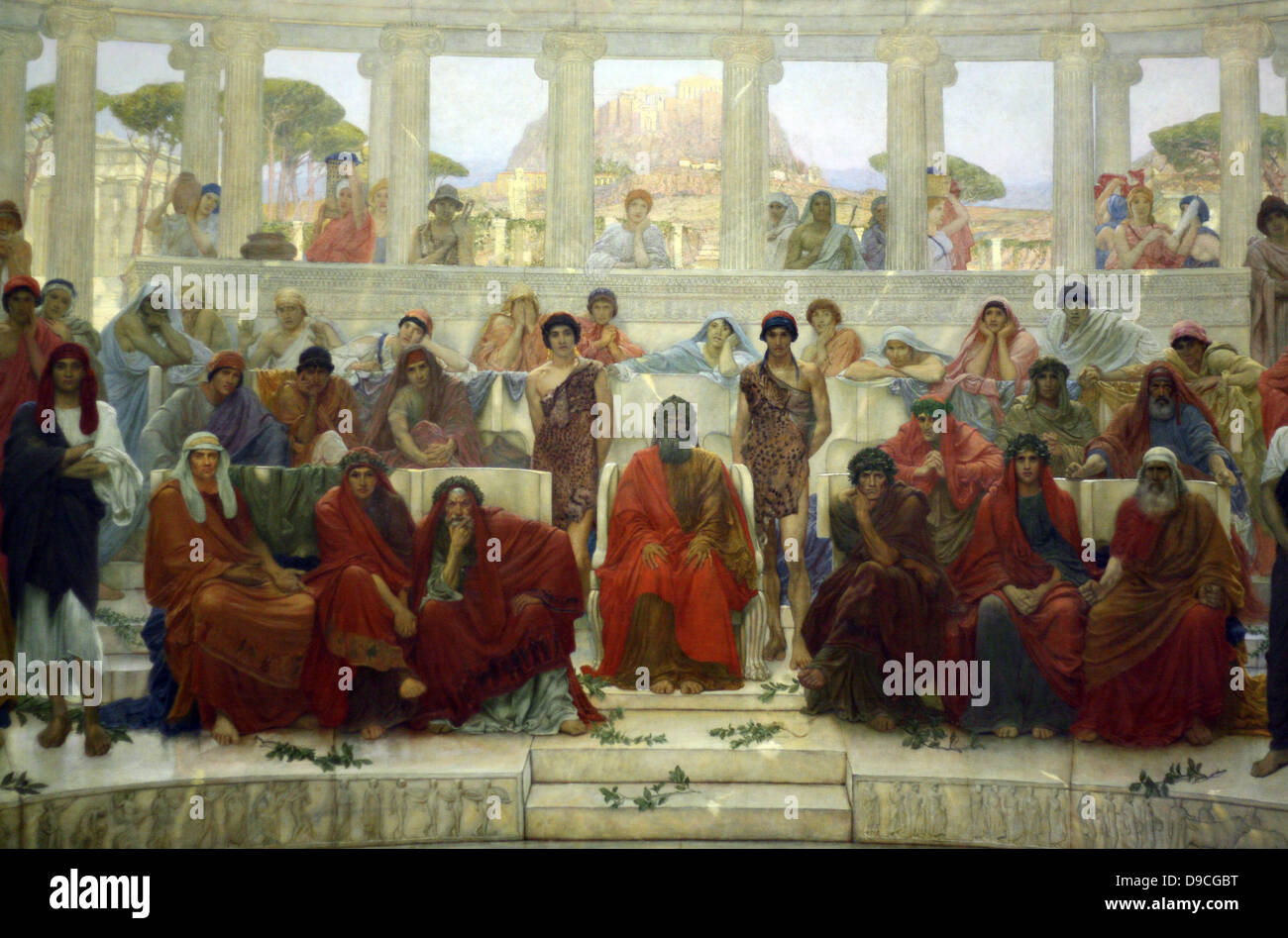 William Blake Richmond 1843-1921 'An audience in Athens during the representation of the Agamemnon' 1884. - Stock Image