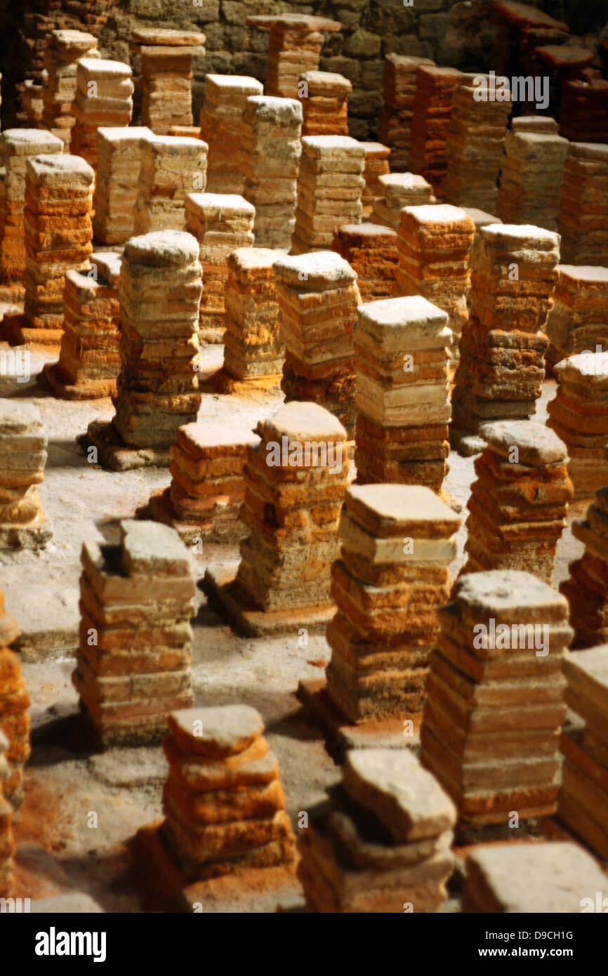 Hypocaust Or Under Floor Heating System Ran Through A Series Of