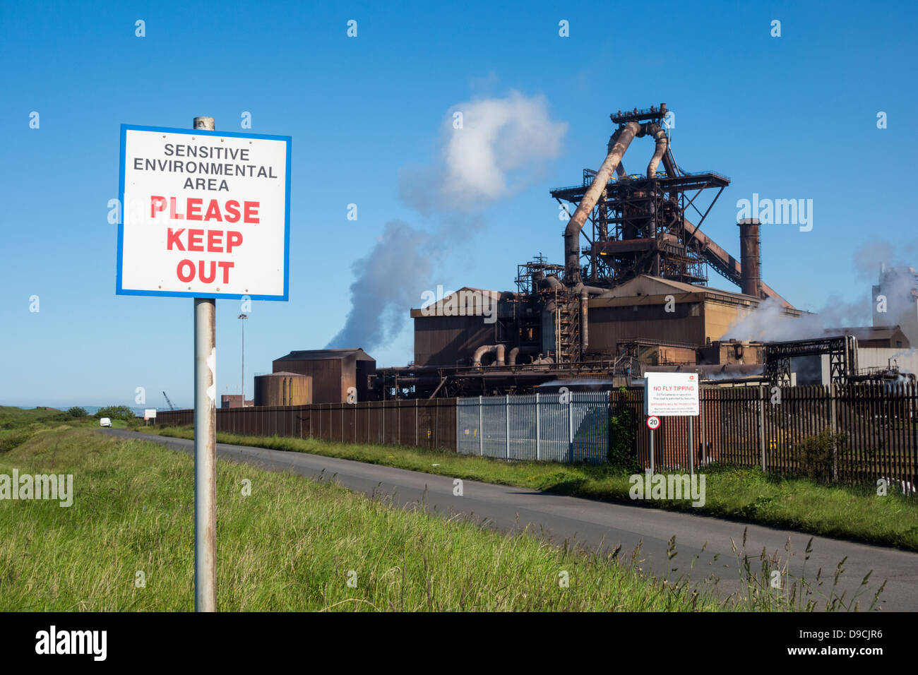 Sensitive Environmental Site sign near Steelworks at Redcar, England, UK Stock Photo