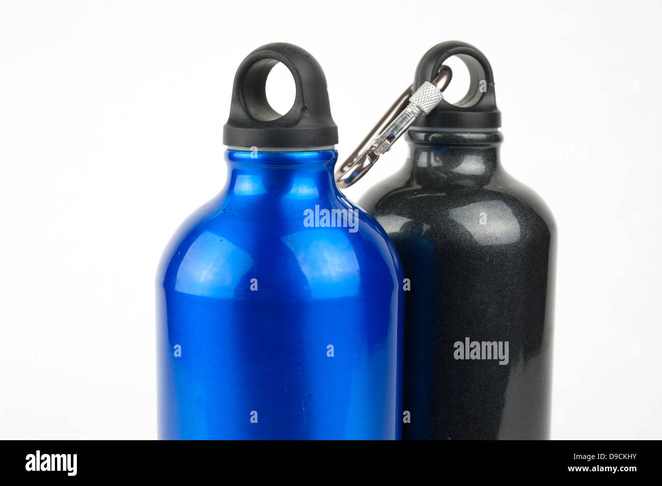 Stainless steel water bottles - Stock Image