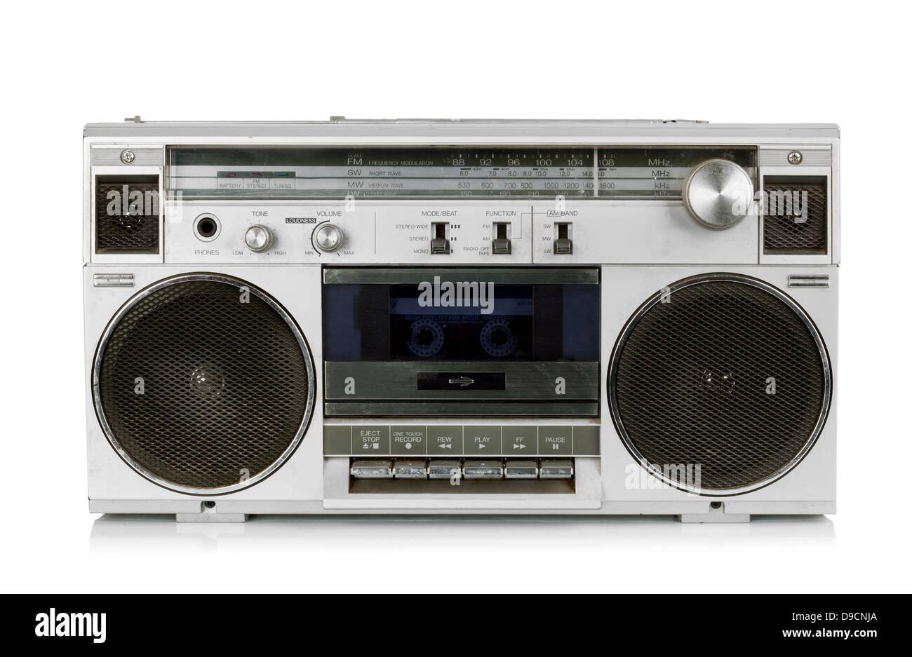 Portable vintage radio cassette recorder isolated on white - Stock Image