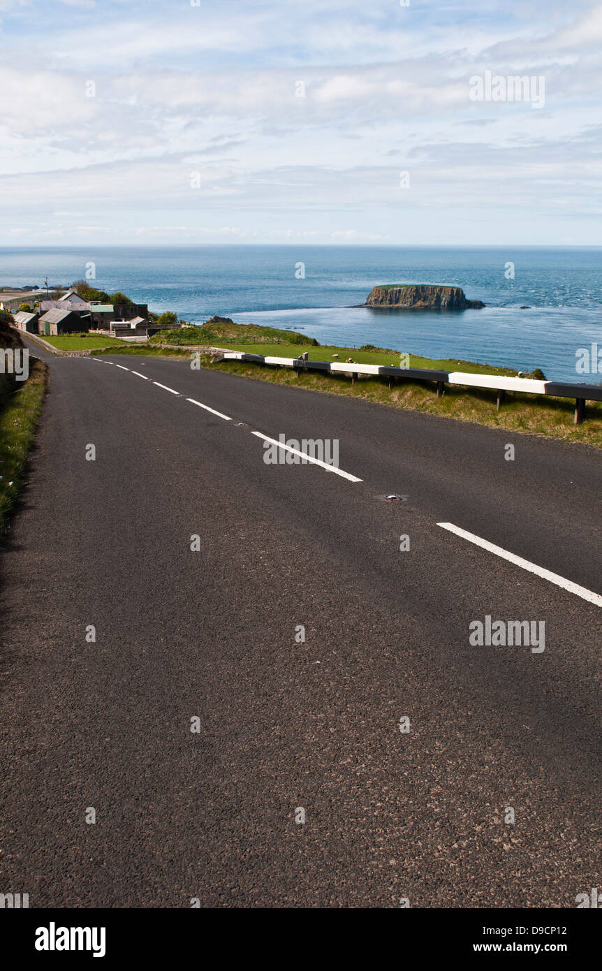 The Causeway Coastal Route, a scenic drive around the coast of Northern Ireland between the cities of Belfast and Stock Photo