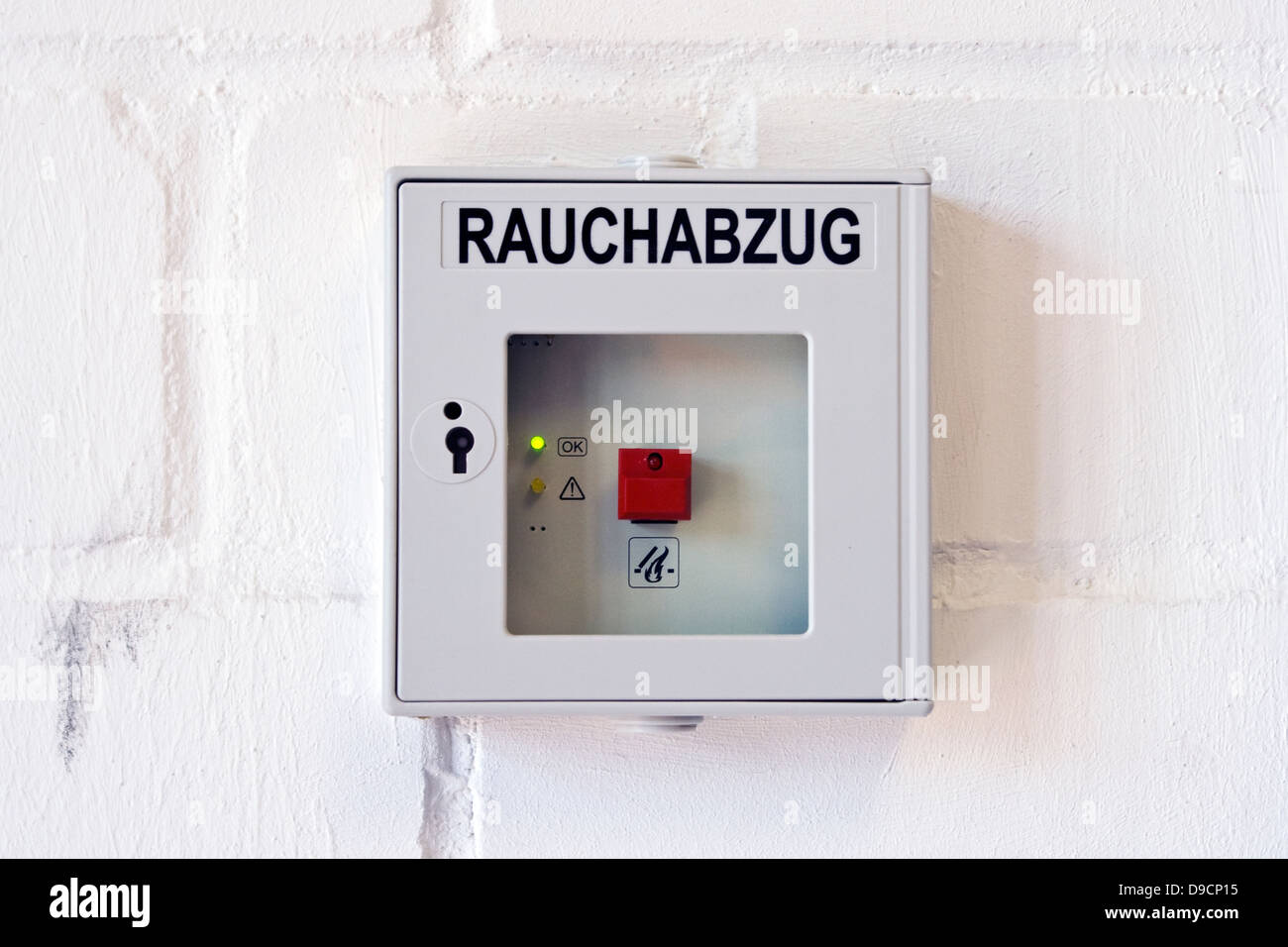 Emergency counter for the smoke deduction in a building, Emergency switch for the chimney in a building, - Stock Image