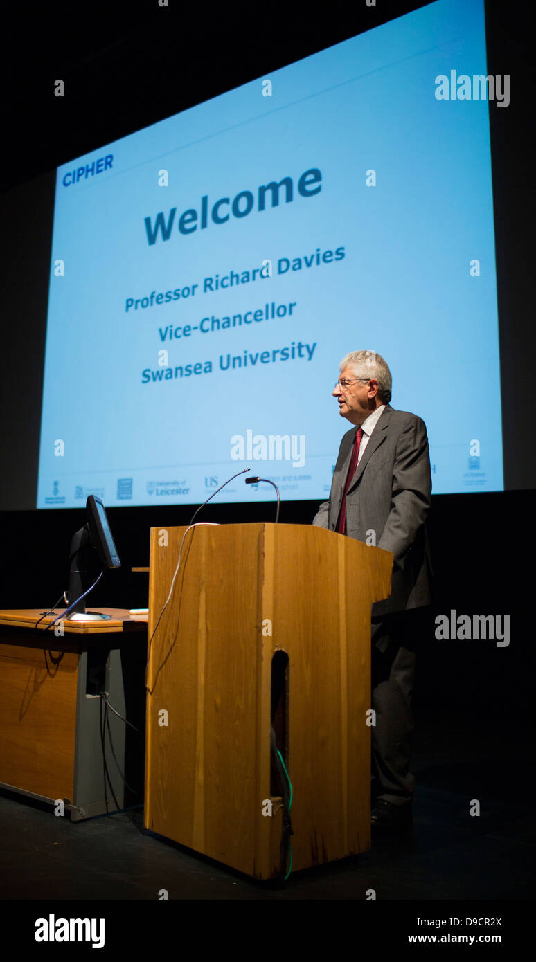 speaking at the CIPHER launch at Swansea University. Stock Photo