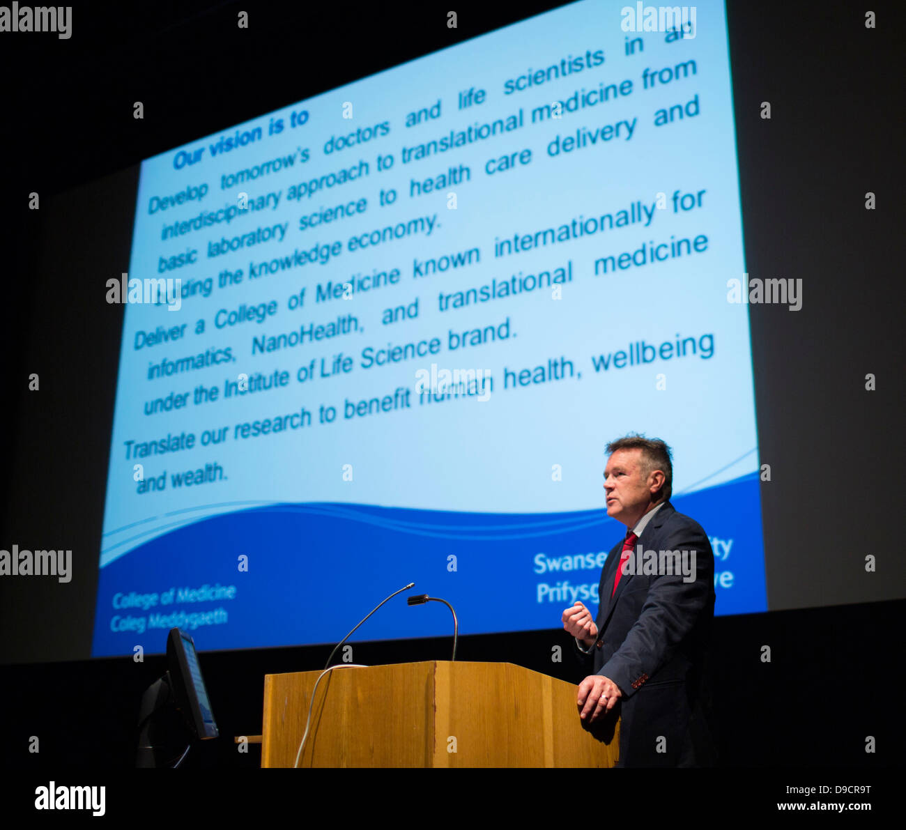 Professor Keith Lloyd, Dean of the College of Medicine at Swansea University, speaking at the CIPHER launch. Stock Photo