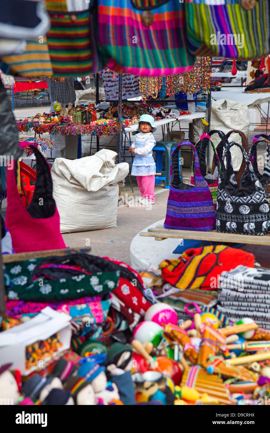 Young girl at the Otavalo market - Stock Image