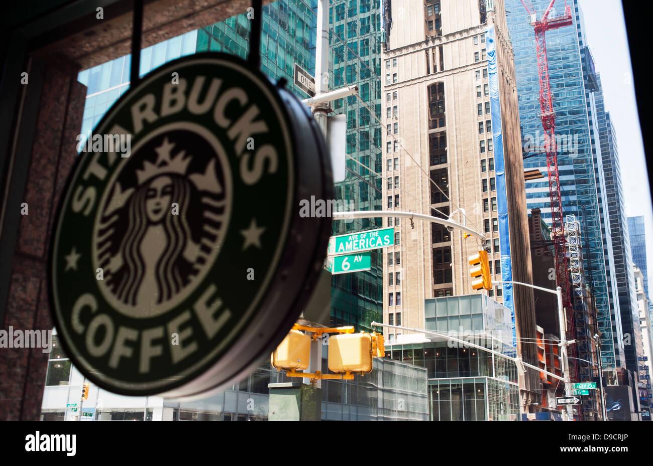 Starbucks on 'the Avenue of the Americas' New York City - Stock Image