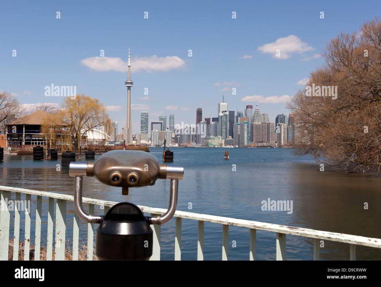 toronto city skyline and telescope viewer - Stock Image