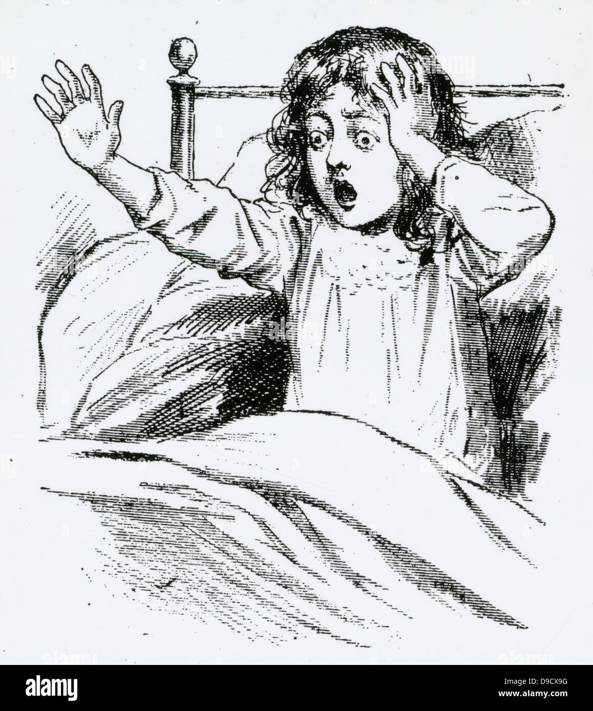 Child with headache and terrifying nightmares, symptons of Tuberculous meningitis. Until the discovery of streptomycin - Stock Image