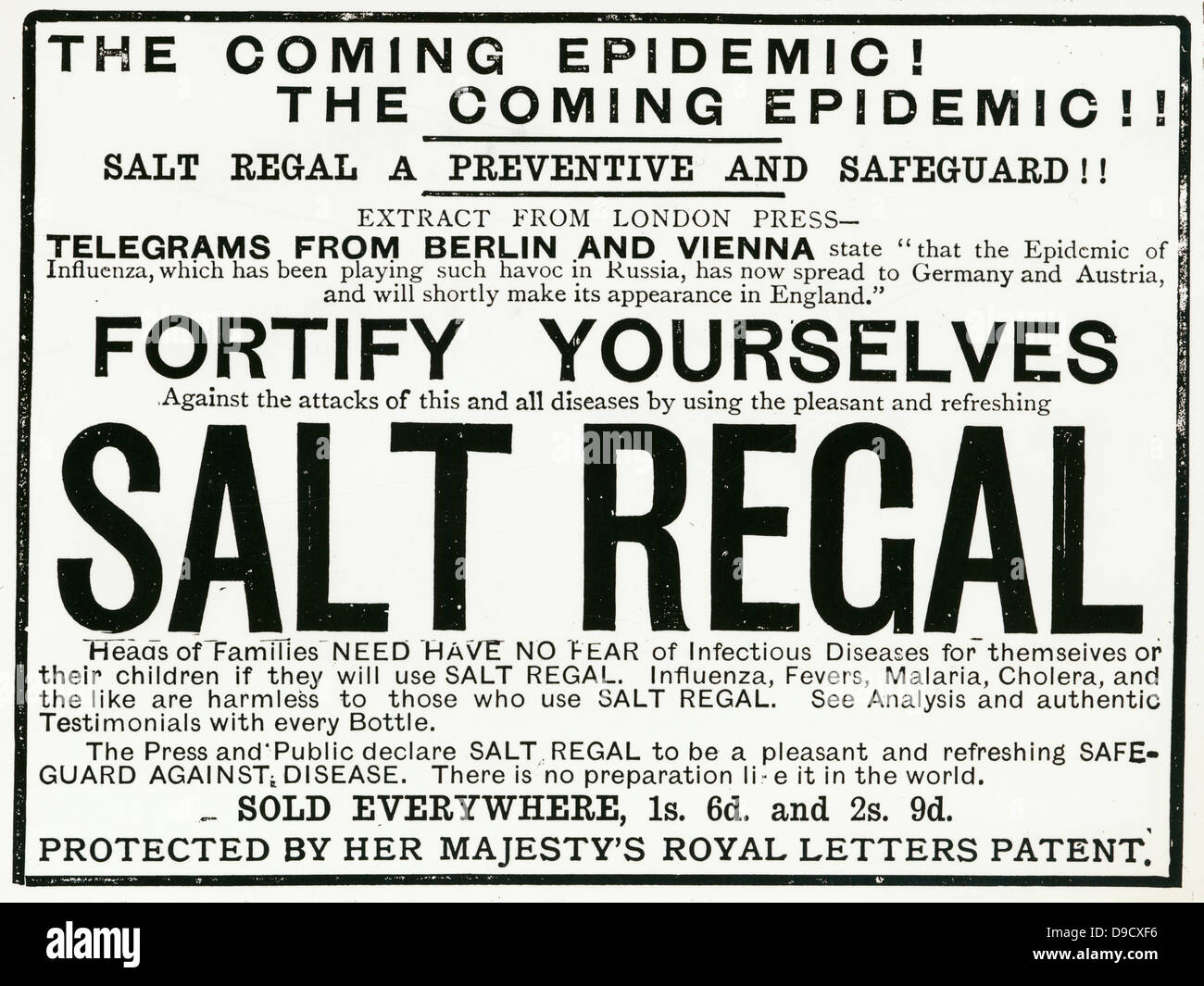 Advertisement for Salt Regal a patent medicine claiming to prevent Influenza, a virus infection which often causes - Stock Image