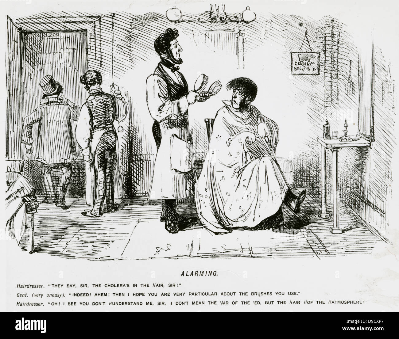 Barber alarming a client by suggesting that Cholera is in the Hair. Cartoon from Punch, London, c1849. - Stock Image