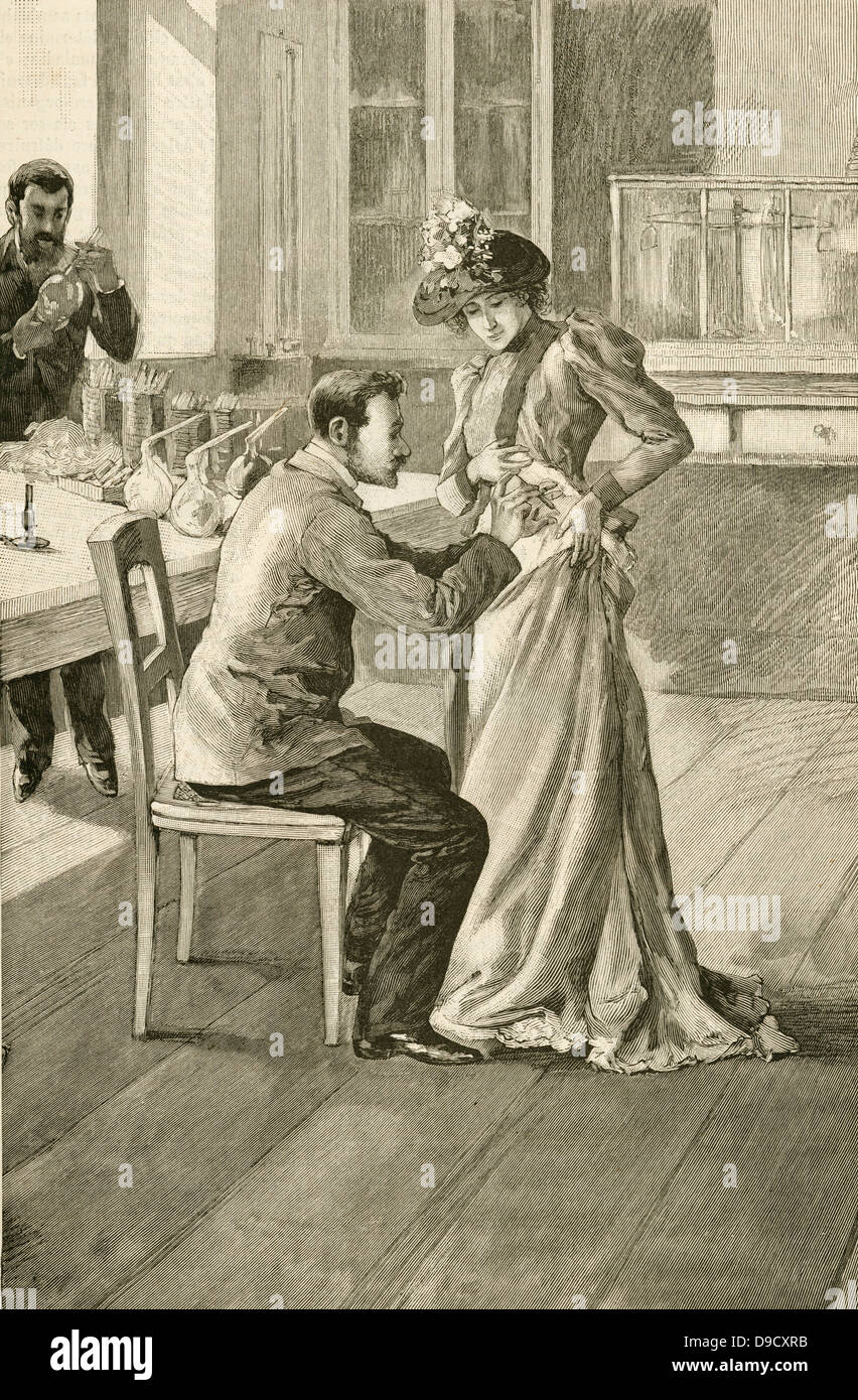 Waldemar Haffkine (1860-1930) Russian bacteriologist , vaccinating a woman against Cholera at the Institut Pasteur. - Stock Image