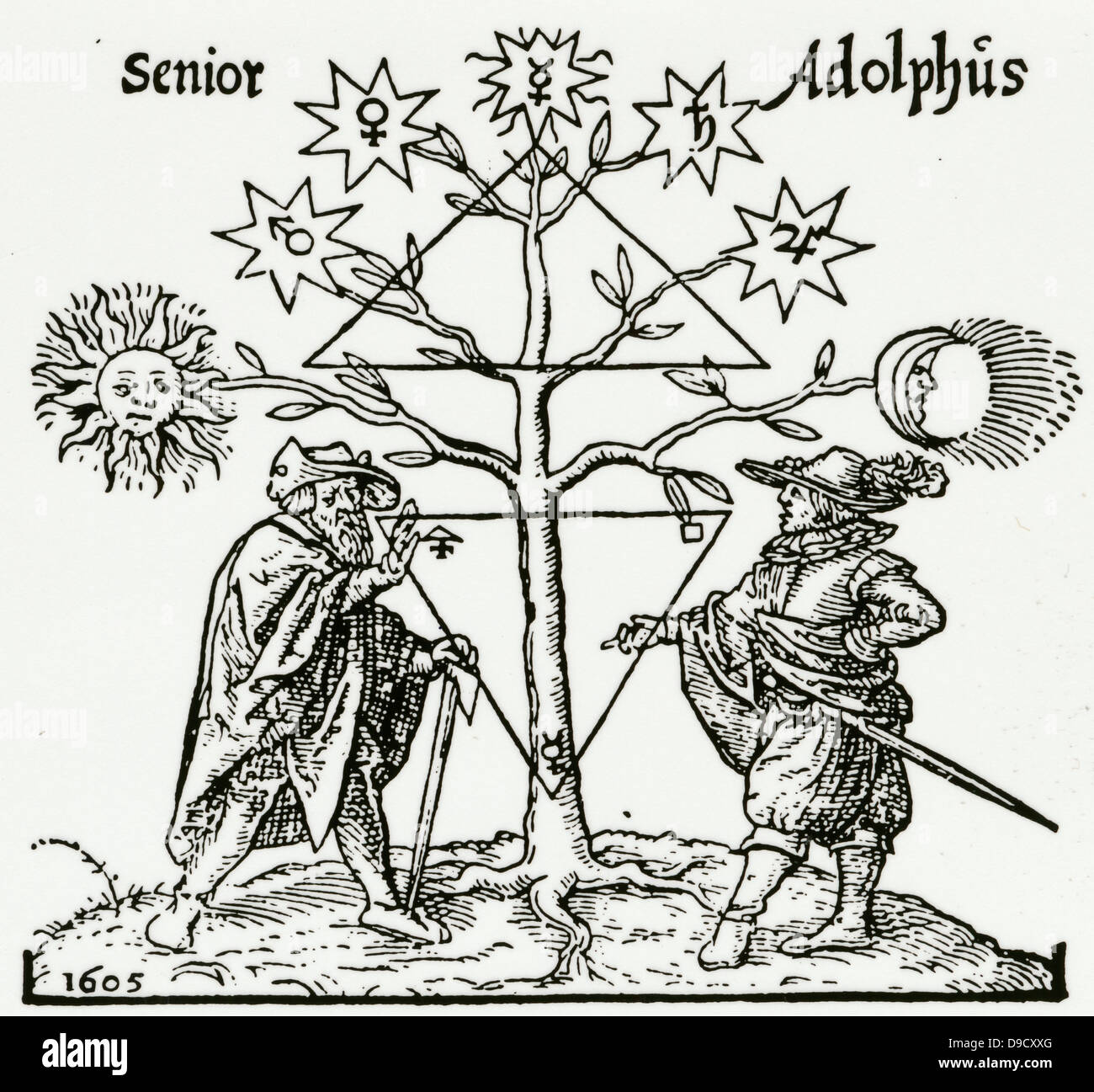 Senior instructs Adolphus at the foot of the Tree of Metals. At corners of lower triangle are symbols of the alchemical - Stock Image