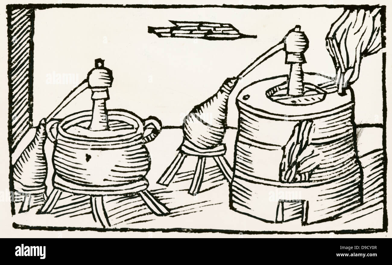 Distillation: alembics in water baths on furnaces, feed distillate into receivers. Woodcut from De la pirotechnia, - Stock Image
