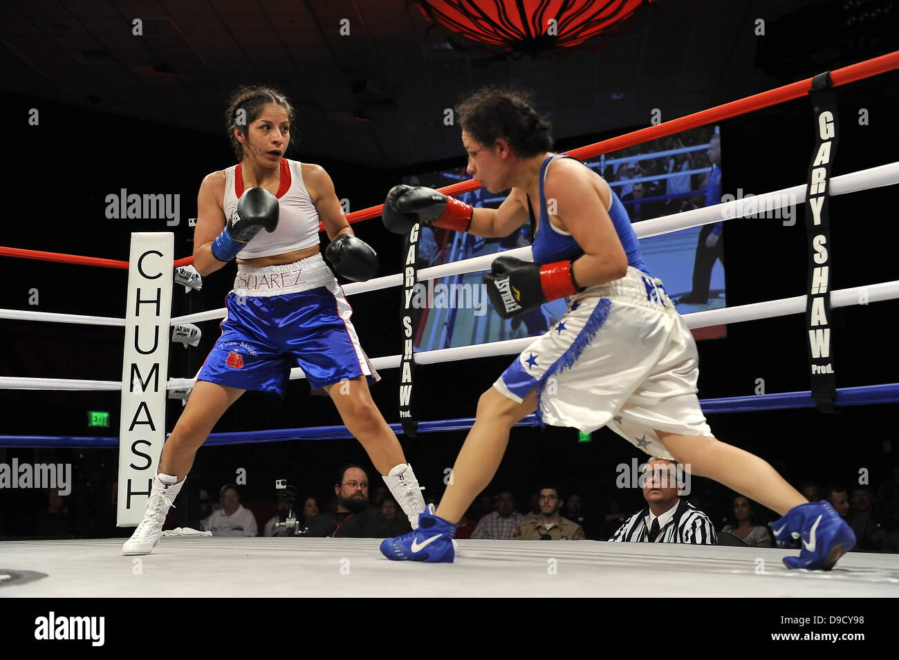 Maggie Suarez Blue Trunks Defeated Elizabeth Cervantes During A Bout At The Central Coast Boxing Championship At The Chumash Casino Resort In Santa Ynez