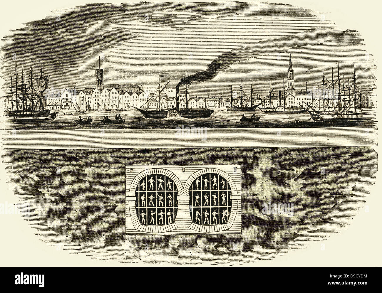 Cross section showing the relative positions of the River Thames and Marc Isambadt  Brunels masonry tunnel and tunnelling - Stock Image