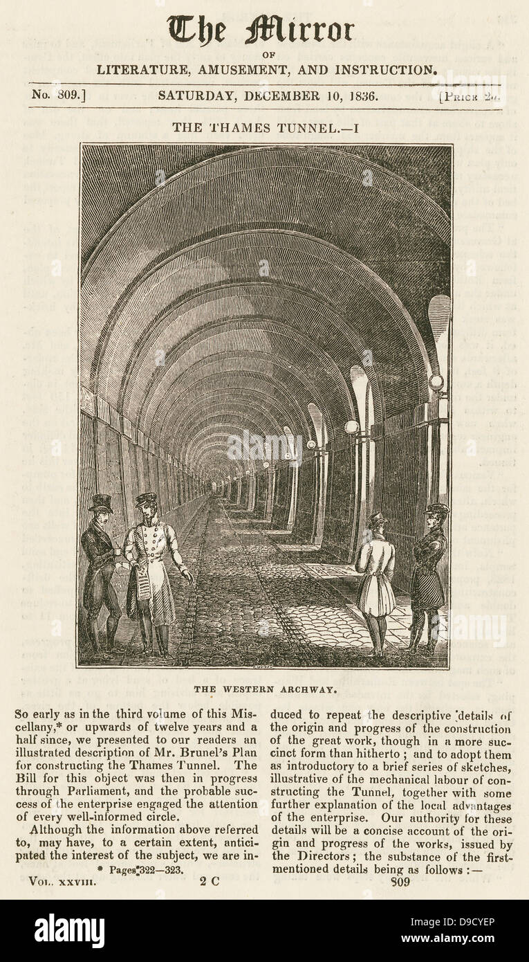 Western arch of Mrac Isambard Brunels masonry tunnel under the Thames built 1825-1843. Engraving 1836.   Isambard Stock Photo