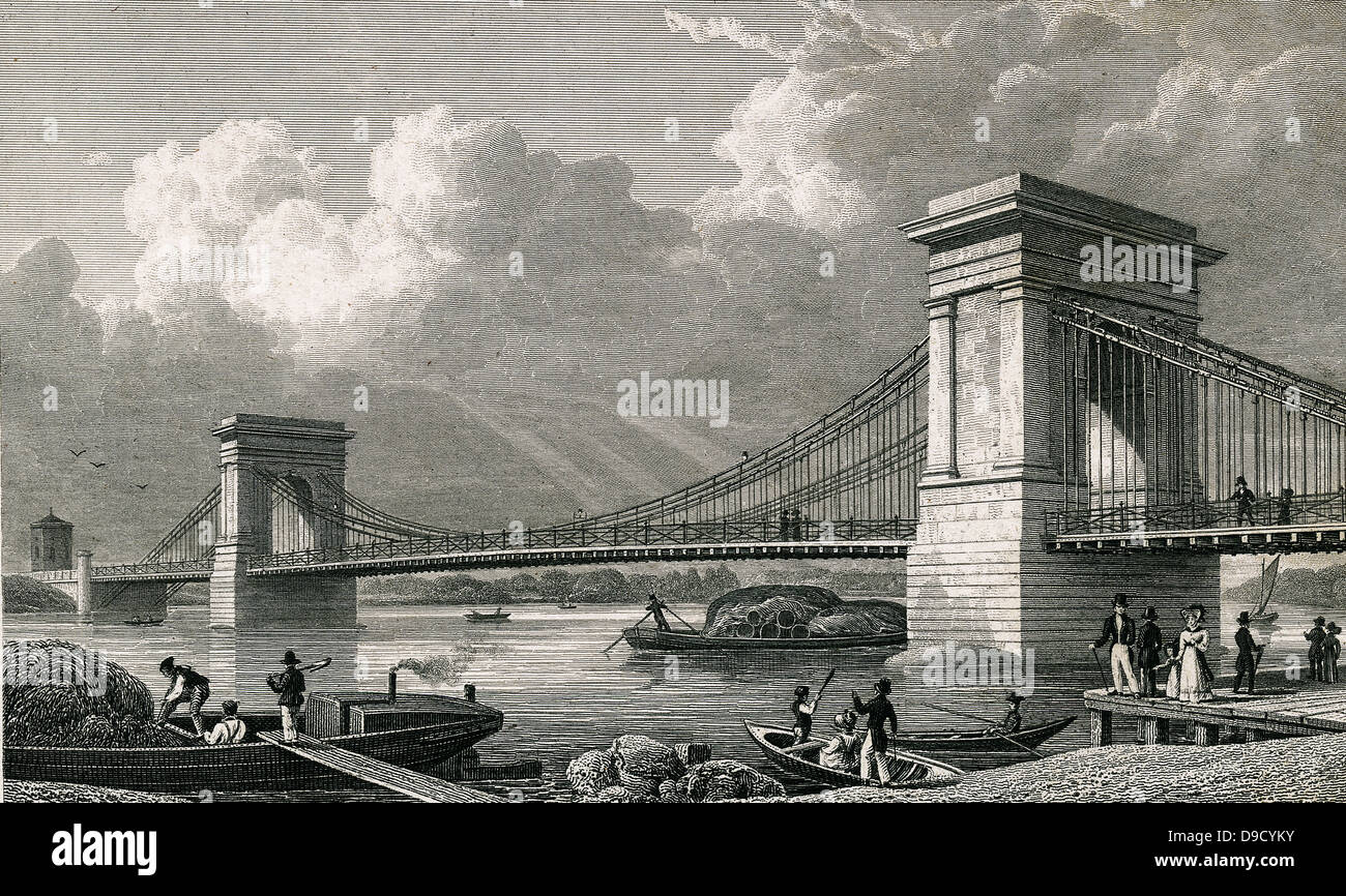 Suspension bridge over the Thames at Hammersmith, London.  Designed and built by William Tierney Clark (1783-1852) - Stock Image