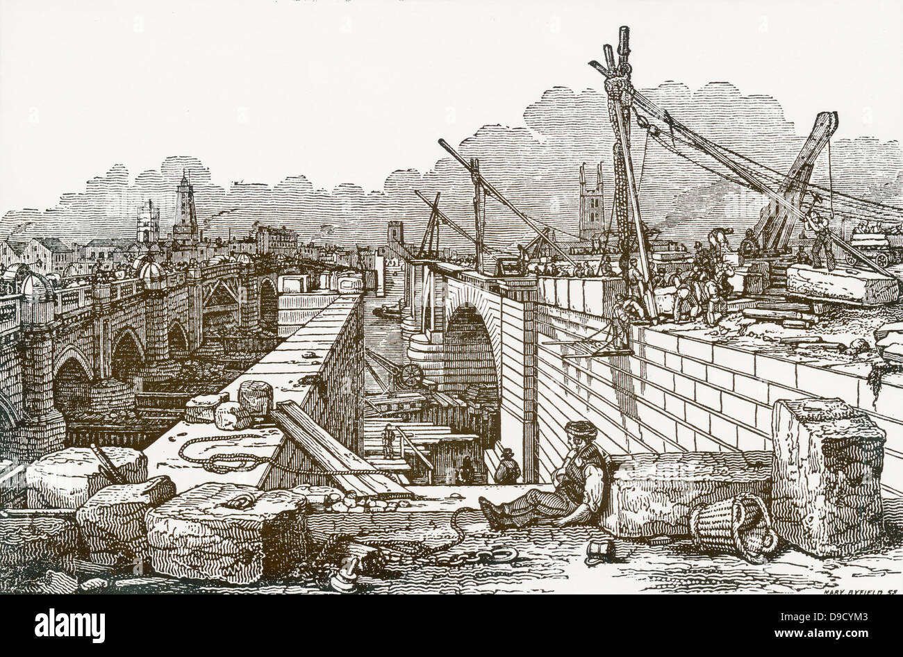View of the new London Bridge whilst under construction which was begun in 1824 and finished in 1831. Engineer: - Stock Image