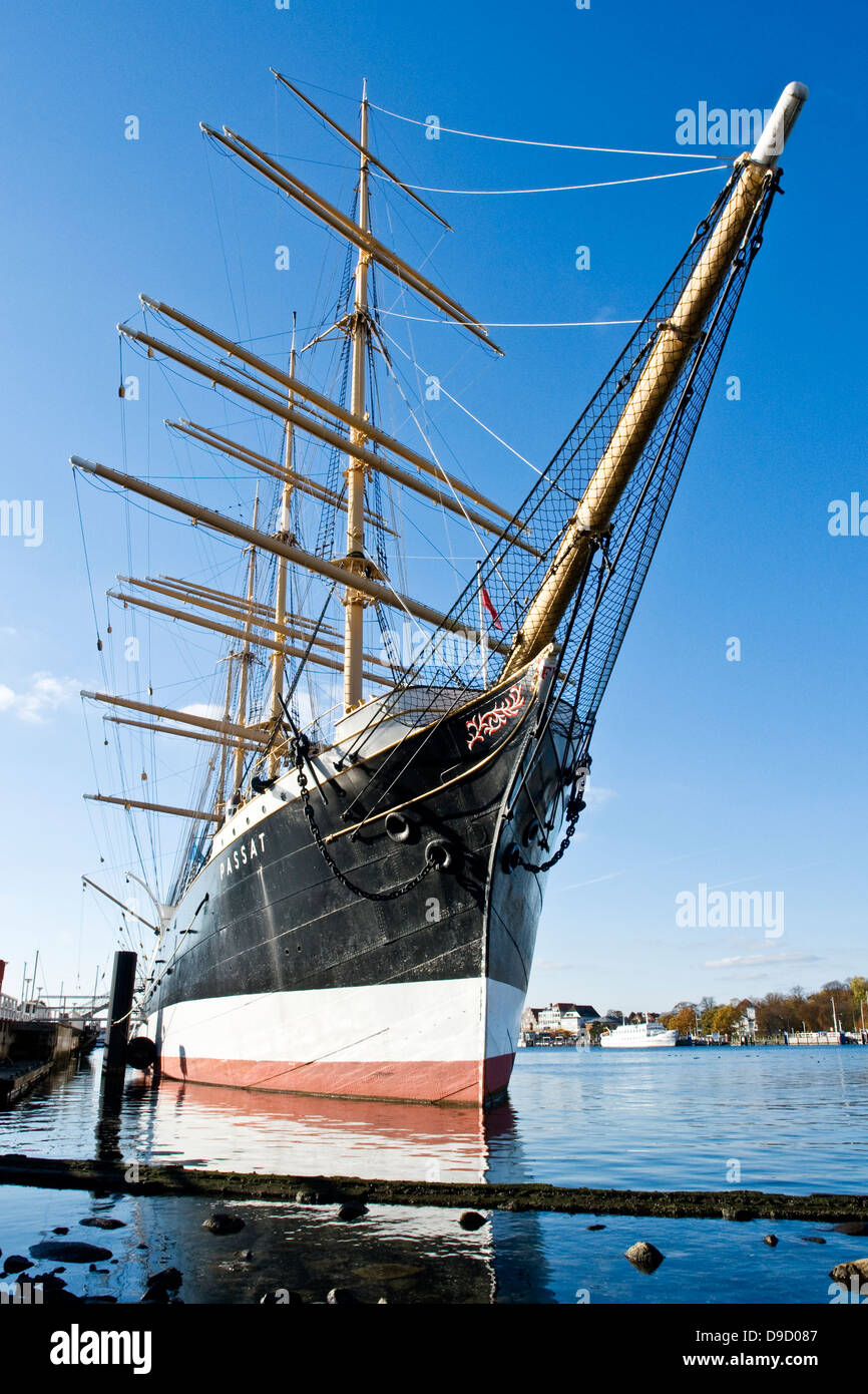 Sail school ship trade wind in the harbour of Travemuende, Sail training ship trade wind in the port of Travem?nde - Stock Image