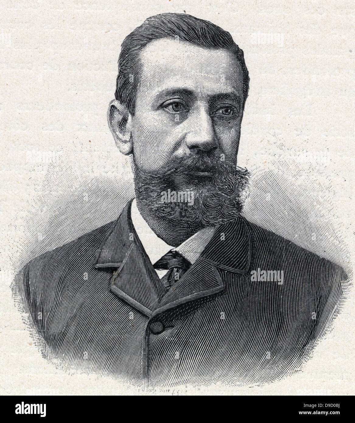 Albert I (1848-1922) Prince of Monaco and Duke of Valeninois from 1889 until his death. Portait engraving c1900. - Stock Image