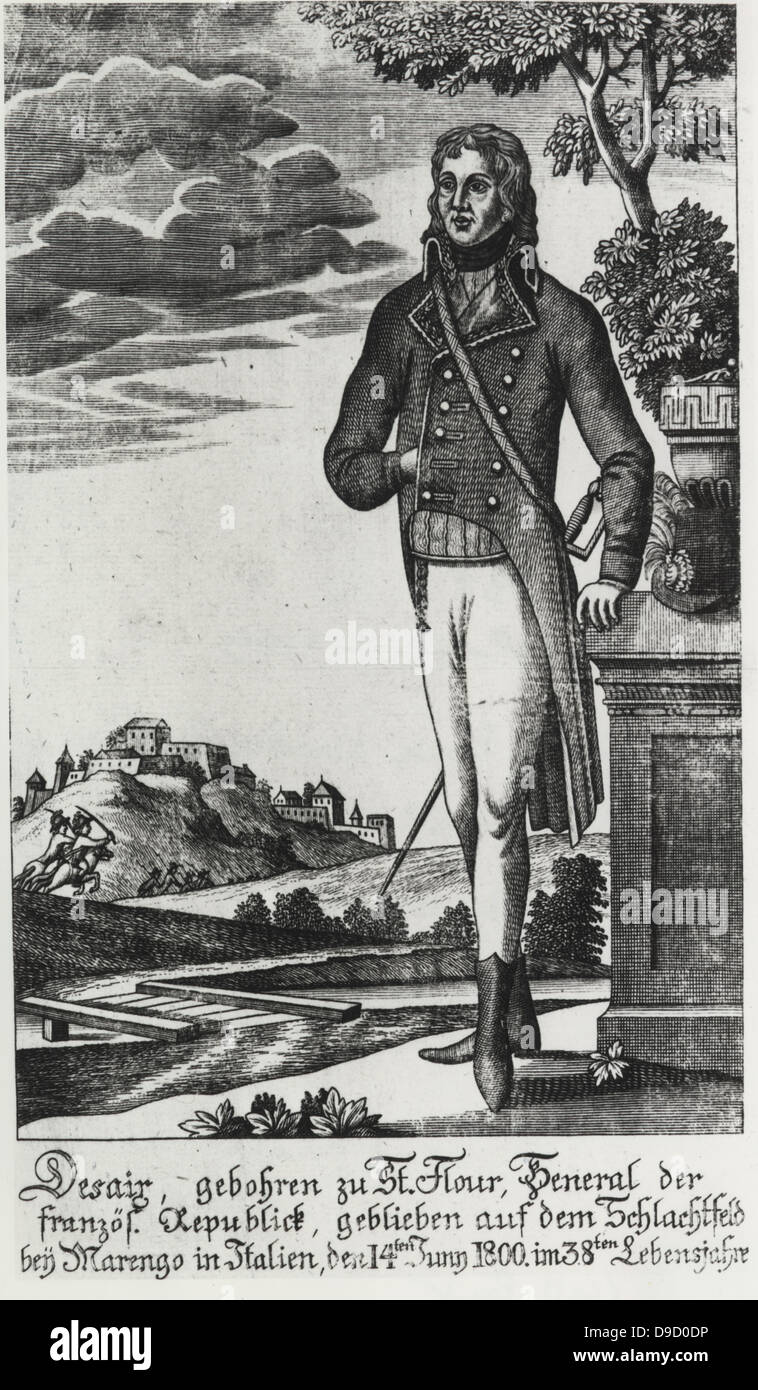 Louis Charles Antoie Desaix (1768-1800) General during the French Revolutionary Army.  Killed at the Battle of Marengo. - Stock Image