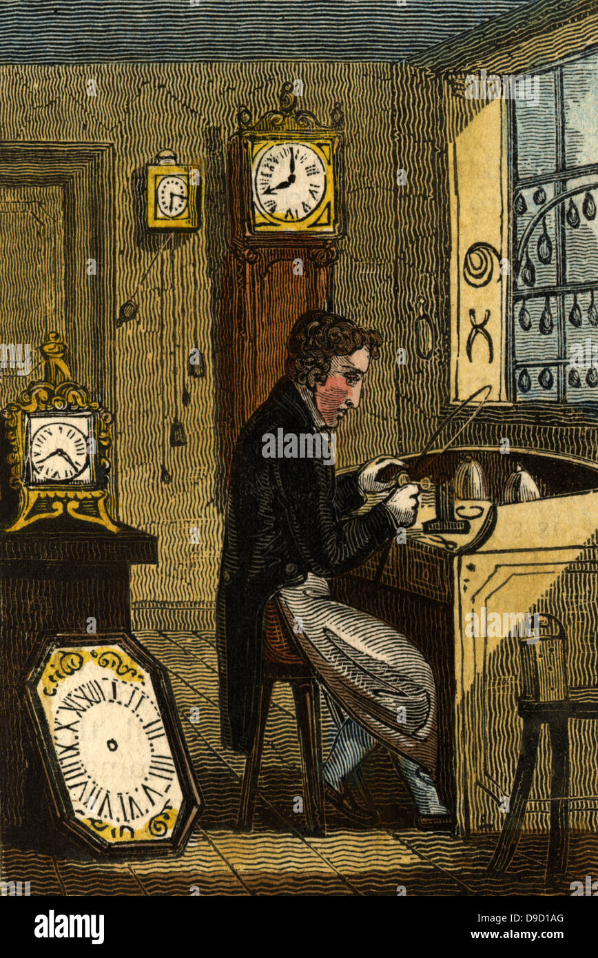 The Watchmaker working at his bench.  As well as watches, he would also make clocks. Hand-coloured woodcut from - Stock Image