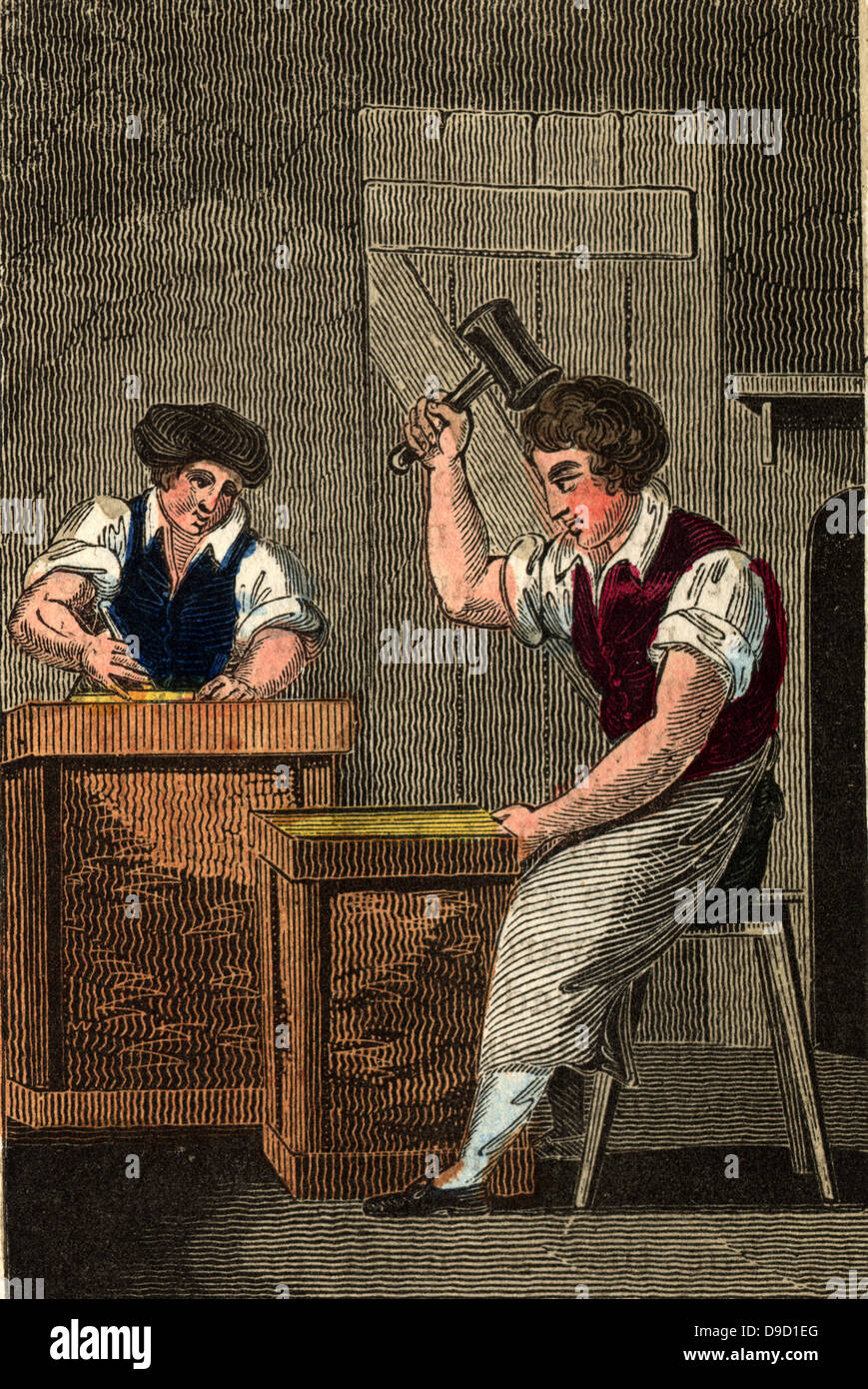 The Goldbeater and his assistant: For use in gilding gold sheet is placed between thin skins and beaten until was - Stock Image